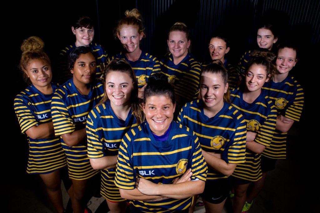 Rugby Union Gympie Hammers Ladies. Back Left - Bec Gottke, Krystle Johnston, Ann-Marie Mann, Lilli Crumblin. Front Left - Faava Rokeni, Jakara Miller, Jemma Lee, Bec Briggs, Olivia Webb, Jade Golchert, Paige Magner.